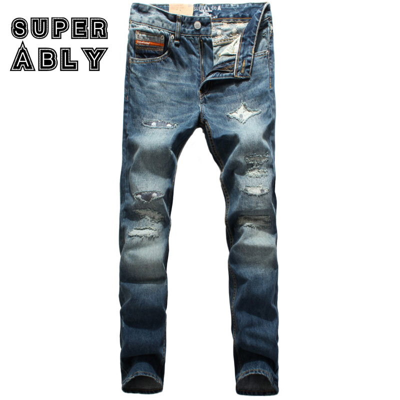 ФОТО High Quality Fashion Men Jeans Superably Brand Ripped Jeans Men Casual Leisure Pants Blue Color Straight Patchwork Stripe Jeans