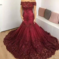 Fashion Mermaid Tulle Lace Sequins Appliques Wine Red Sexy evening Dresses Long 2018 Custom Made evening Gowns Gold Formal Dress