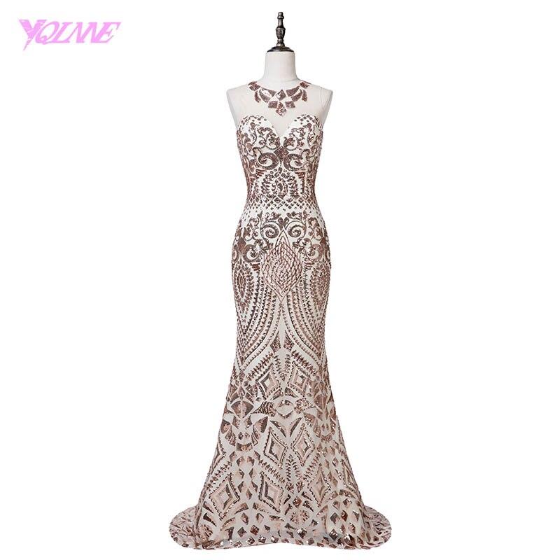 YQLNNE Luxury Gold Sequins Mermaid Evening Dress Long Women Dresses Vestido De Festa 2018
