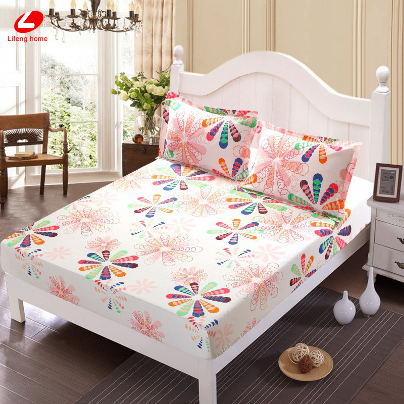 Home textile bed sheet sheet flower mattress cover printing bed sheet elastic rubber bedclothes 180*200cm summer bedspread band 45