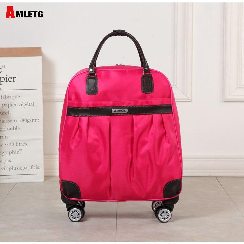 AMLETG nouvelle marque de mode chaude pour femmes roulette décontracté couleur unie 4 couleurs caisse roulante chariot à bagages chariot à bagages bagages S602