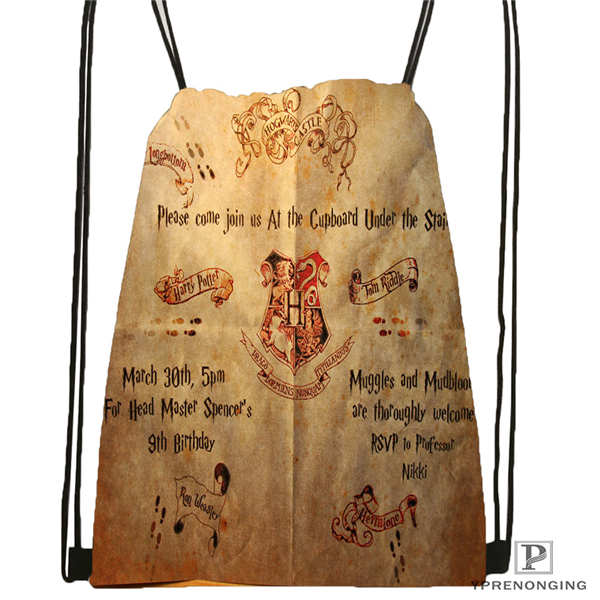 Custom Marauders_map_ Drawstring Backpack Bag Cute Daypack Kids Satchel (Black Back) 31x40cm#180612-02-21