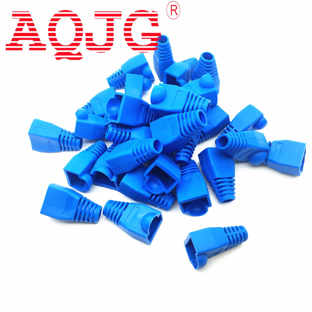 100pcs Soft Plastic Ethernet RJ45 Cable Connector Boots Plug Cover Random Color AQJG RJ45 Cat6 Cat5E Plugs Ethernet Network funny blades style small plastic spinning tops random color 4 pcs