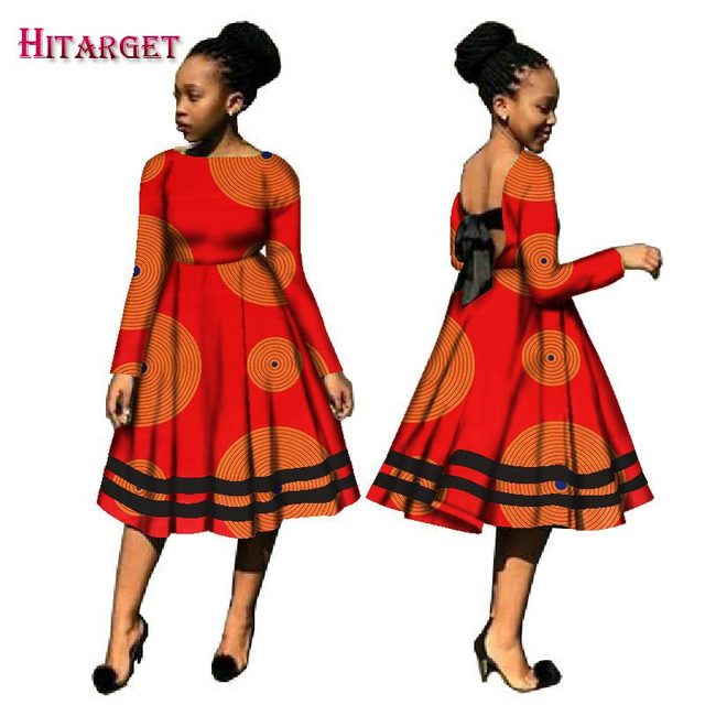 5289d59ba4 Autumn Bazin African Dresses for Women Kanga Clothing Dashiki African Wax  Print Long Sleeve Dresses Traditional Clothes WY2093