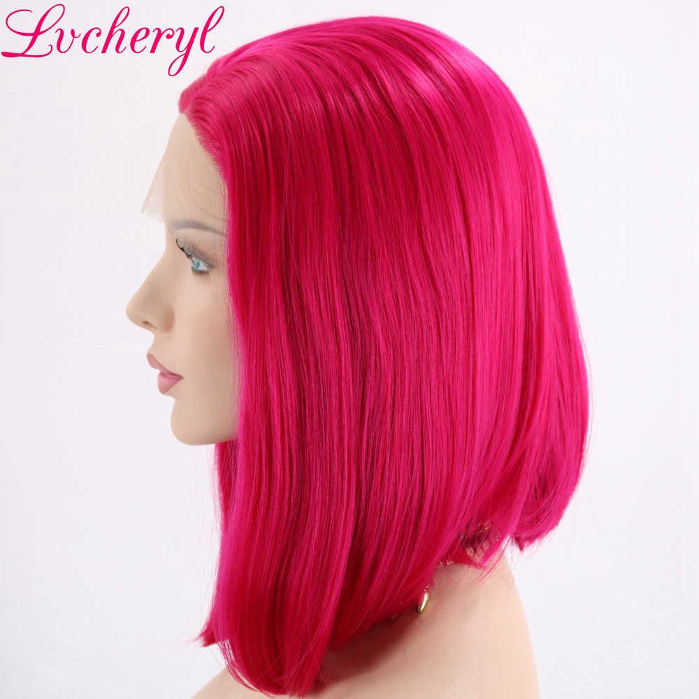Lvcheryl роза красного цвета термостойкие парики с короткими волосами химическое Синтетические волосы на кружеве парики Косплэй вечерние макияж парики для летняя одежда