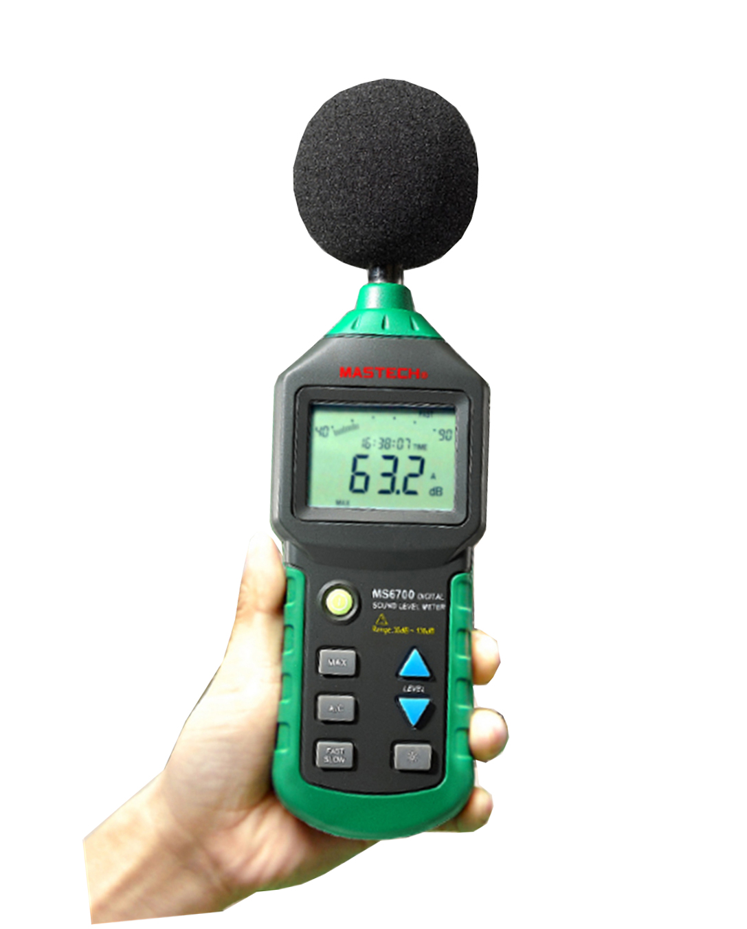 MASTECH MS6701 Autoranging Digital Sound Level Meter Decibel Tester 30dB to 130dB with RS232 Interface and Software With the BOX tm 102 autoranging sound level meter