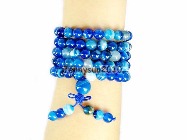 Azul Natural Stripe Ágata 8mm Gem Stone Budista 108 Contas de Oração Mala Multi-Purpose Stretchy Pulseira Colar 2 100strands/Pack