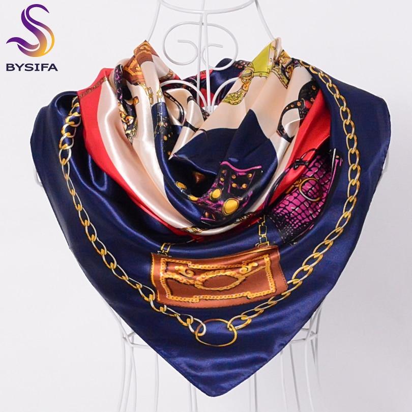 [BYSIFA] Summer Ladies Satin Shawl Scarves Brand Bag Pattern Silk Scarf Turkey Women Head Scarf 90*90cm Fashion Accessories Cape