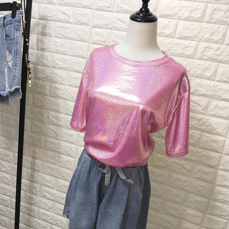 Daddy Chen Glitter T Shirt Loose Femme Bling Tops for Women Short Sleeve O Neck Clubwear Fashion High Street Roupas Feminina 9