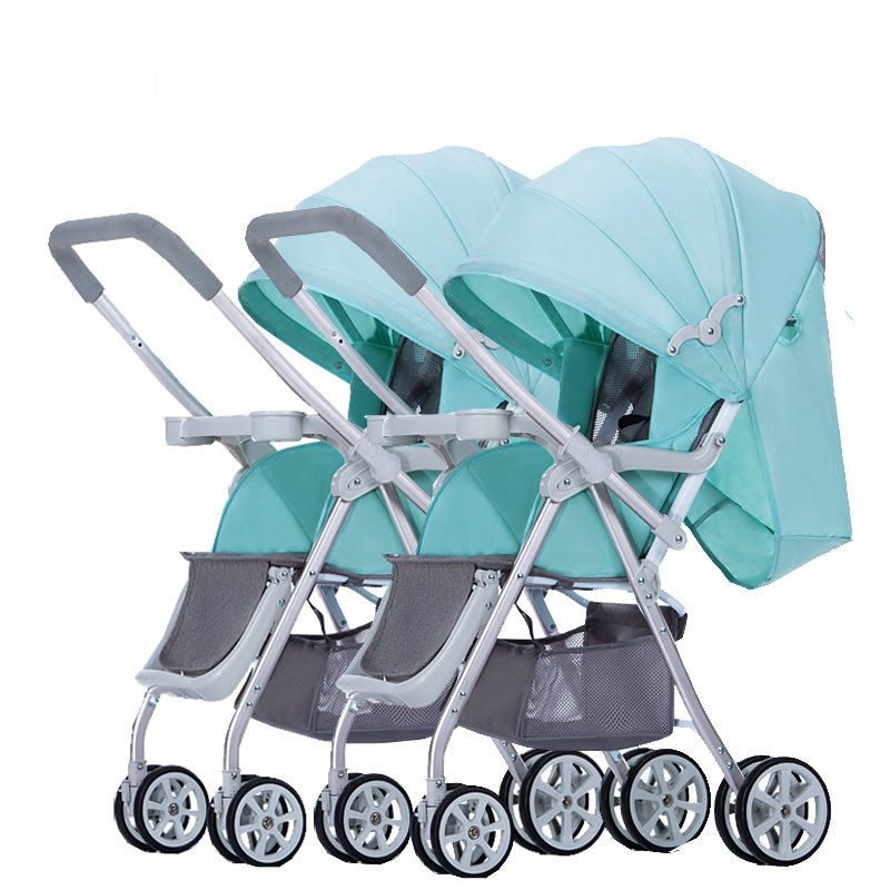 Twins Baby carriage with rain cover, can combine can separate double seat stroller, good shock proof twins pram fashion twins stroller four color to choose hot twins baby stroller with good shock absorption folded double child stroller