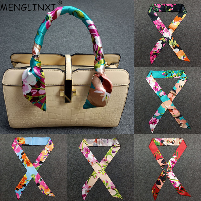 2020 New Print Handle Bag Ribbons Brand Small Silk Scarf For Women Fashion Head Scarf Small Long Skinny Scarves Wholesale