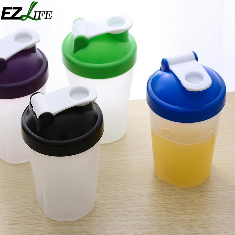 Portable 400ml Protein Shake Mixer Water Bottle Plastic Sport Camping Hiking Water Bottle Milk Shake Mixer Water Bottle CRM5384
