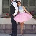 Nova Tulle 2017 Sparkly Lantejoulas Halter Vestidos Rosa Tulle Curto do Regresso A Casa Vestidos de Festa Linda Engagement Prom Vestidos Custom Made