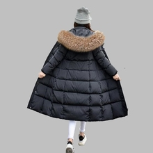 2017 Winter New Casual down jacket Female Big hair collar Hooded Long Cotton coat Thick Warm Large size Cotton jacket  AB111
