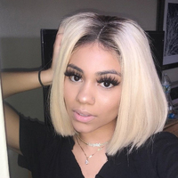 Poker Face 613 Blonde Lace Front Wigs Short Bob Brazilian Human Hair Wigs 150% Density Straight Hair Short Bob Wigs