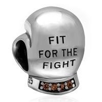 戦いボクシンググローブチャーム925スターリングシルバービーズでシャンパン石フィットdiyトロールスタイルブレスレット&ネックレスジュエリー作り