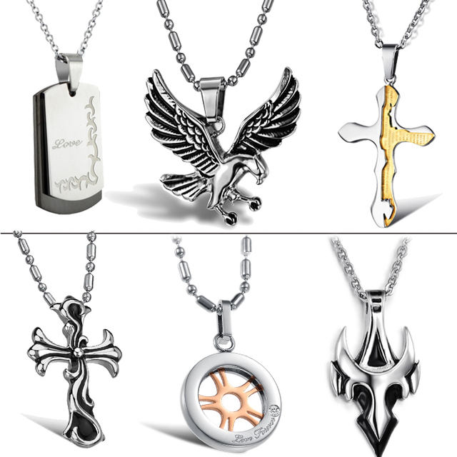OPK JEWELRY 10pcs/lot Stainless Steel Pendant Necklaces Cool Men's Titanium Jewelry Necklaces Mixed Order Free Shipping