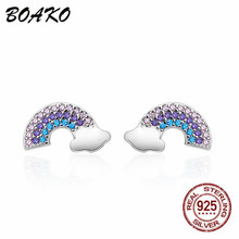 ROXI Female Rainbow Stud Earrings for Women Colorful Rhinestone Crystal 100% 925 Sterling Silver Korean Earing