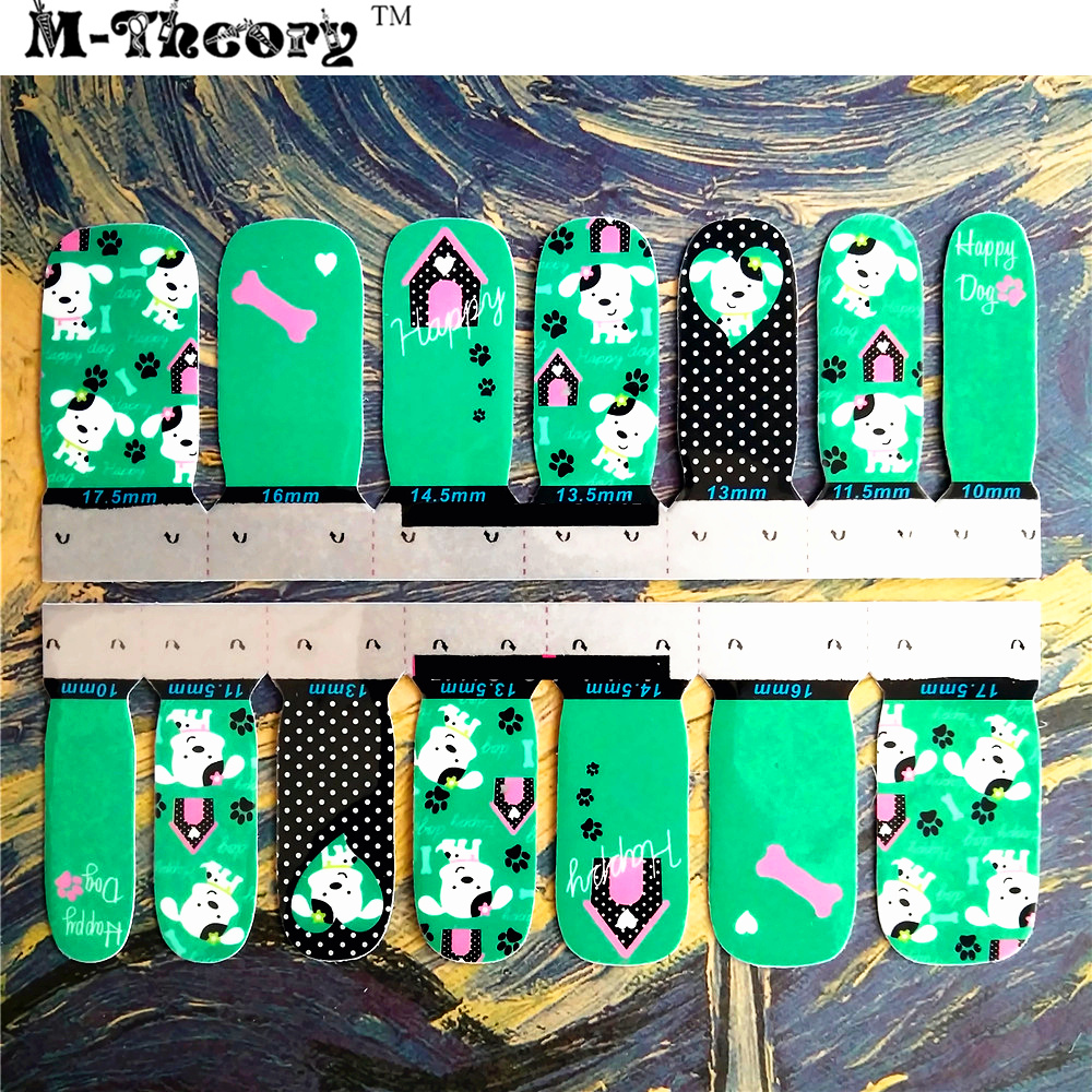 M-Theory Adhesive     Nails Wraps Stickers,  Green Puppy ,  3D Nails Arts Polish Sticker Gel varnish Decals   Manicure advances in graph theory 3