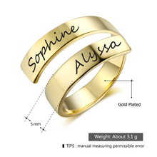 Adjustable Rings With Name Engraved For Women Anniversary