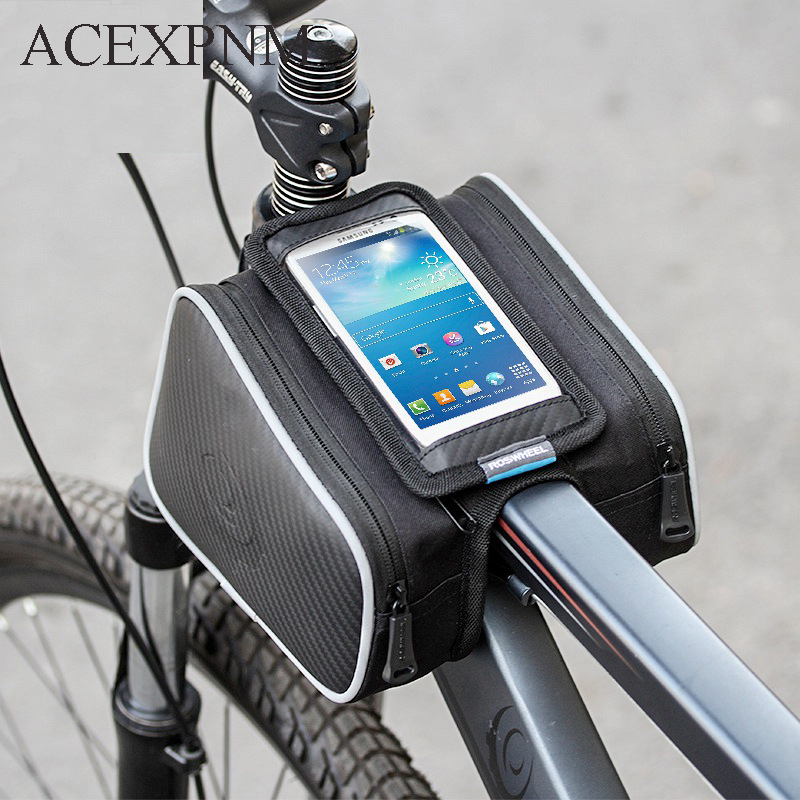 ACEXPNM Waterproof Bike Bag Frame Front Head Top Tube Cycling Bag Double Pouch 5 7 Inch Touch Screen Bicycle Bag Accessories in Bicycle Bags Panniers from Sports Entertainment