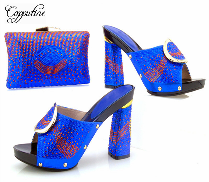 Capputine New African Style Shoes And Bag Set Summer Fashion Women High Heels Shoes And Bags Set For Party Free Shipping free shipping no 40 3 red color fo shoes and bag set new summer women s shoes low heel shoes crystal high heel shoes