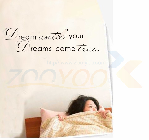 Dream until your dreams come true Wall Stickers English Wall Quotes Vinyl Home Decor Decals Letter decorative ZYVA-8009-NA