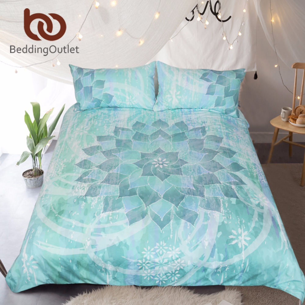 BeddingOutlet Del Progettista Set di Biancheria Da Letto Copripiumino Set Creativo Originale di Loto Floreale Boho Mandala Letto Twin Set Completo Queen Re