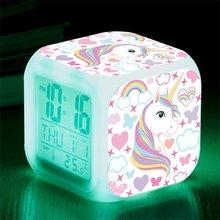 Unicórnio despertador led relógio digital 7 mudança de cor luz noite incandescente crianças relógio de mesa despertador unicornio presente das crianças