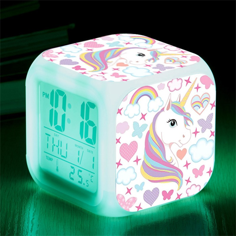 Unicorn Alarm Clock LED Digital Clock 7 Color Changing Light Night Glowing Kids Desk Clock despertador unicornio Children Gift