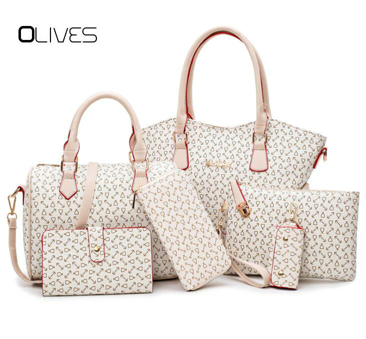 OLIVES New 6 Piece Set Women Bags Leather Handbags High Quality Fashion Casual Shoulder Bag Female Purse Designer Brand miwind 2017 new women handbag pu leather female bags fashion shoulder bag high quality 6 piece set designer brand bolsa feminina