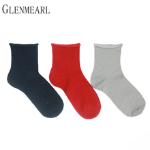 5 Pair/Lot Cotton Women Socks Vintage Solid Spring Fall Fashion Short Compression Coolmax Quality Hosiery Dress Female Socks 69