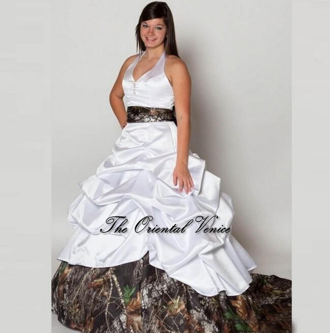 Custom Made Plus Size White Camouflage Wedding Dresses 2017 Bow Sashes Camo Wedding Dress Robe de mariage Modest Bridal GownS