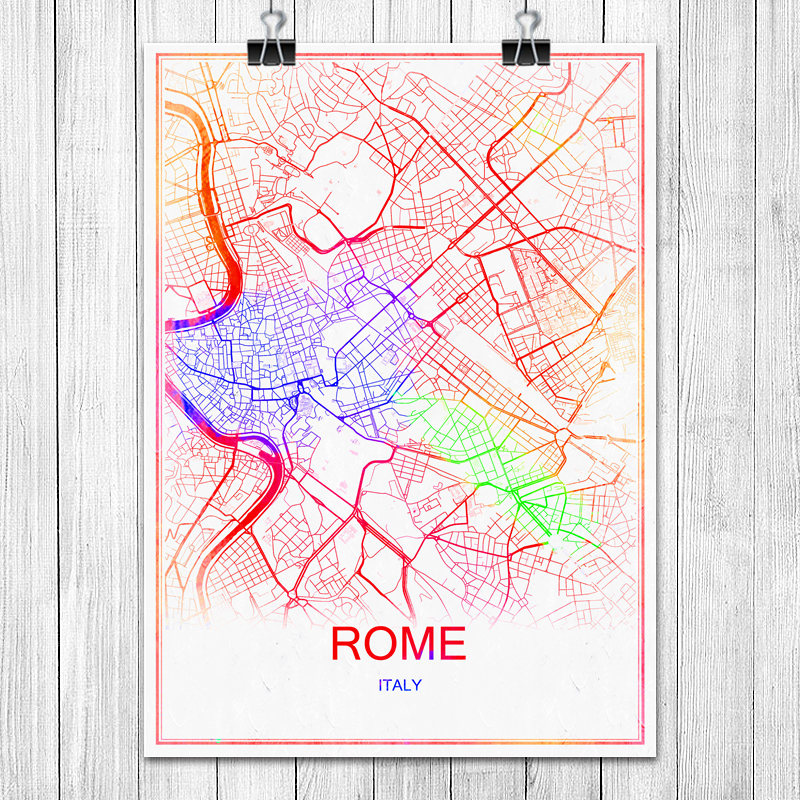 Modern Map Of Italy.Us 1 99 Aliexpress Com Buy Modern Colorful World City Map Rome Italy Print Poster Abstract Coated Paper Bar Cafe Living Room Home Decoration Wall