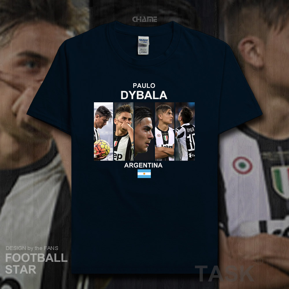 check out a139e 243ed Paulo Dybala t shirt 2018 jerseys Argentina footballer star tshirt 100%  cotton fitness t-shirt clothing streetwear summer new 20