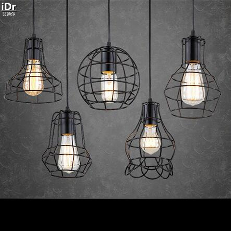 ФОТО American country style wrought iron vintage industrial lamps Wujiantao Restaurant Bar Cafe Pendant Lights  wwy-0045