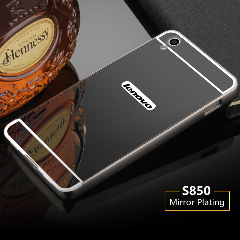For Lenovo S850 Case Luxury Mirror Metal Aluminum Bumper Case For Lenovo S850 S850T Hard PC Plating Back Cover Phone Case Fundas