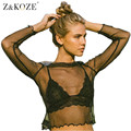 Z&KOZE 2017 Newest Mesh Top Women Long Sleeve Black TShirt Sexy Ruffled Neck Perspective Spring Tops Hollow Out casual Blusa