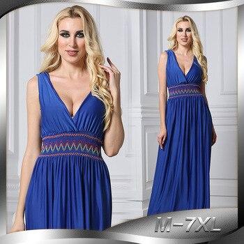 9daab245bbc0080 2019 для женщин летнее платье V образным вырезом без рукавов плюс размеры  7XL длинные пляжные макси сексуальное с открытой спиной синий