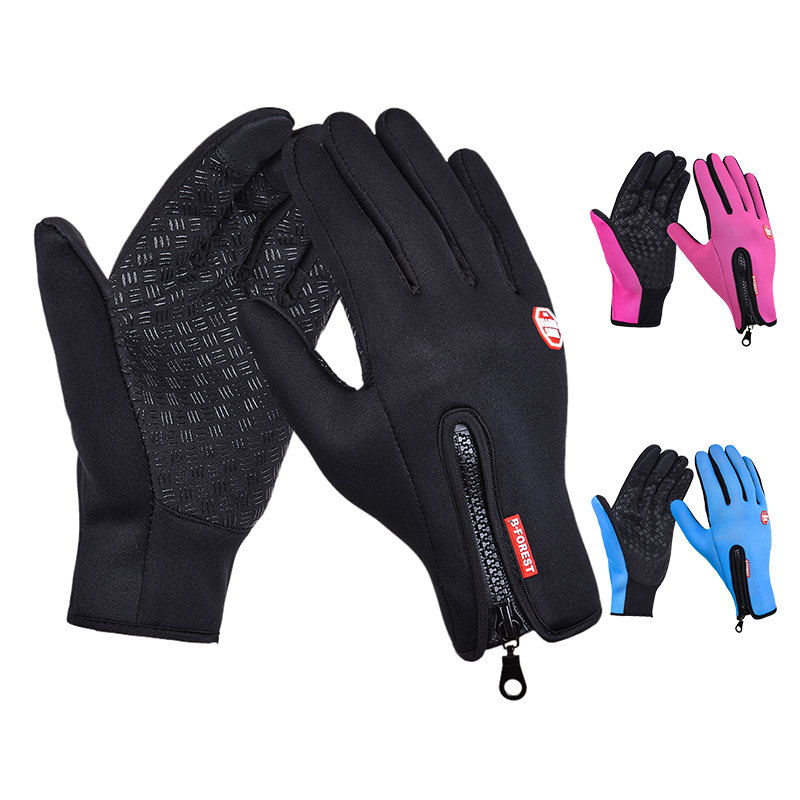 Einstellbare Touchscreen Outdoor Sport Windstopper <font><b>Ski</b></font> Handschuhe Blau Reit Handschuhe Motorrad Handschuh Mtb Radfahren Handschuh Herren Frauen image