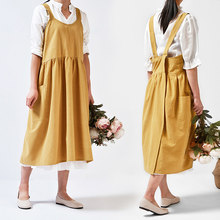 Medieval Washed cotton linen Kitchen Apron For Cooking Baking Flower Shop Ruffles work clean apron for woman uniform lady Dress(China)