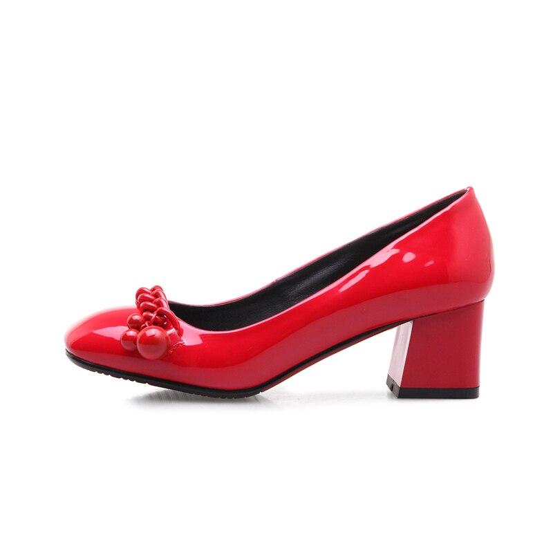 Sandales Élégant Appliques Pompes Sur 43 Chaussures Taille 34 rouge Glissent Profonde Talons À Peu Esveva Hauts 2019 Carré Noir Bout Femmes 4x0twEv48q