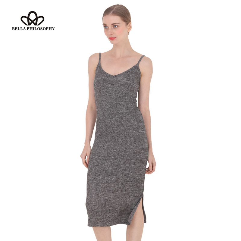 2018 spring summer autumn new women's side split V-neck Slim knitted cami dress cotton highly stretchy 9 colors gray wine red