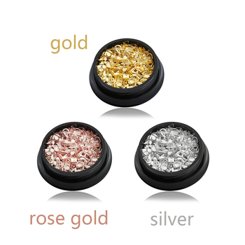 1 Bottle Rose Gold/Silver 3D Metallic Rivet Star Shell Round Nail Studs Round/Square  DIY Nail Art Manicure Decoration Nail Decorations