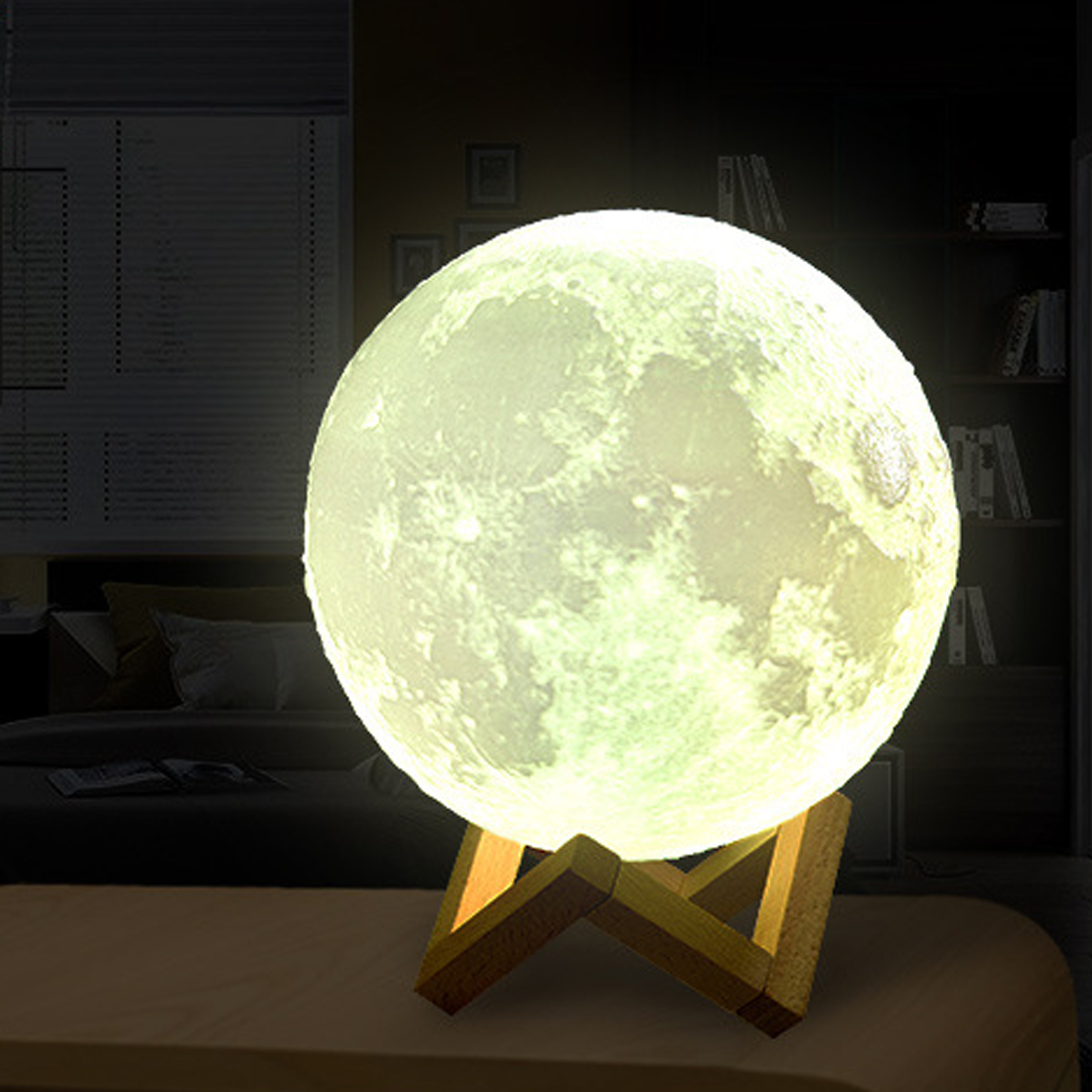 2 Color Change 3D Print Lamp Creative Rechargeable Moon Lamp Moon Bedroom Bookcase Night Light 3D Light Touch Switch
