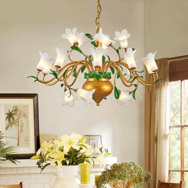 Luxury Modern Crystal Flower Chandelier For Living Room Gold Hanging Romantic Dining Lighting