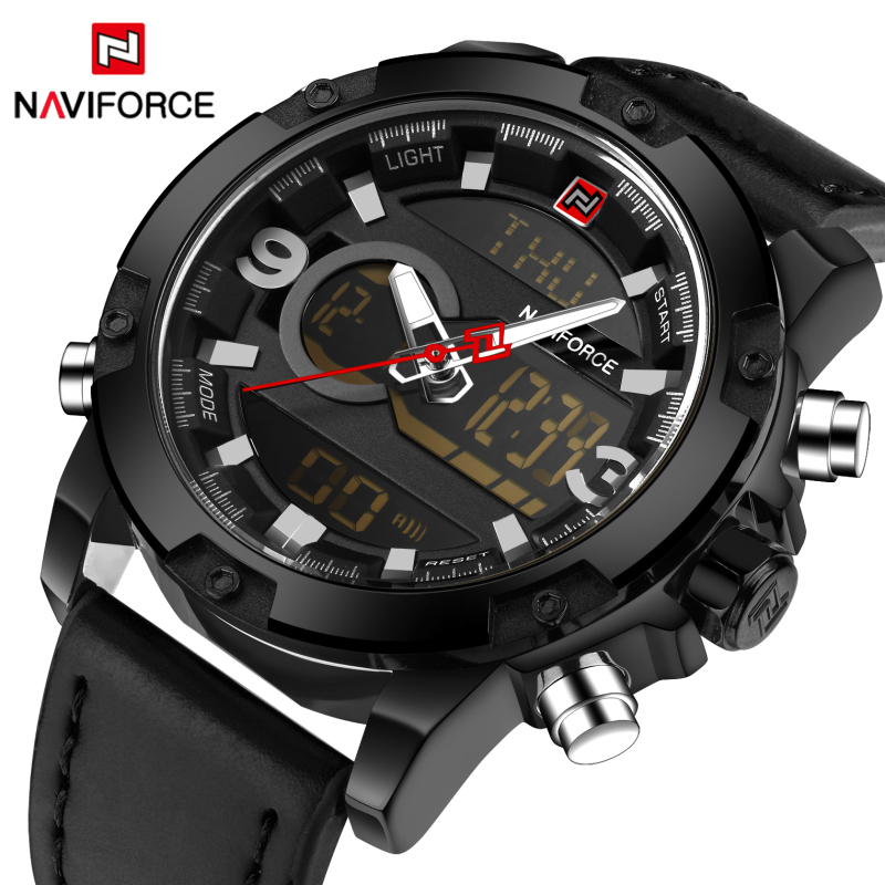 Luxury Brand Naviforce Analog Led Watches Men Leather Quartz Clock Men's Military Sport Waterproof Wrist watch Relogio Masculino