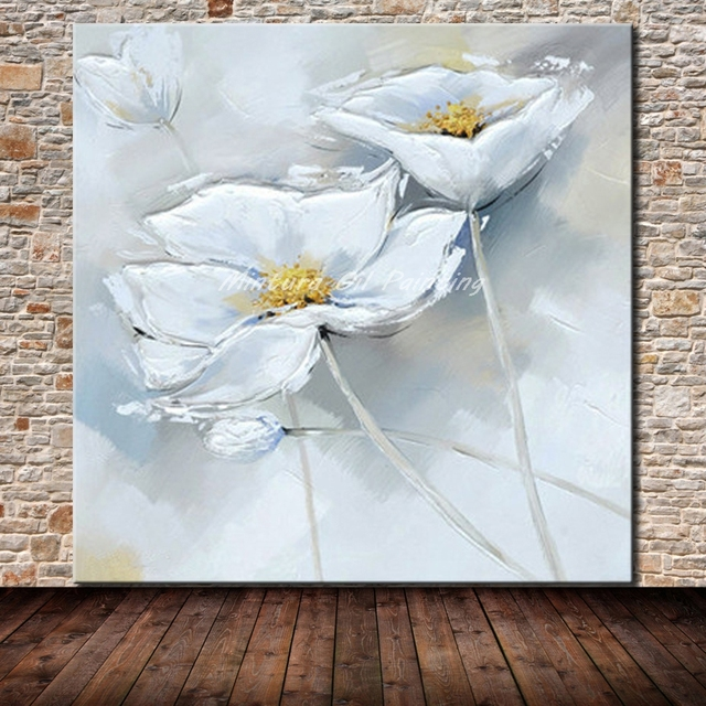 Mintura paintings hand painted white flowers oil painting on canvas mintura paintings hand painted white flowers oil painting on canvas wall art pictures for living room mightylinksfo