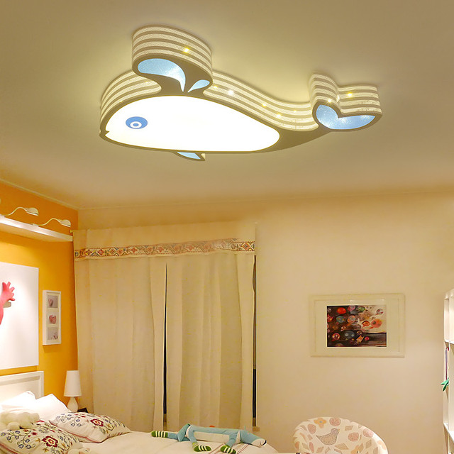 Modern Simple Lovely Animal Fish Whales Iron Girls Boys Bedroom LED Ceiling  Lamp Light Fixture Nursery School Kids Room Lighting