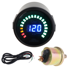 2 52MM  12V 0~120PSI Colorful LED Digital Oil Press Pressure PSI Gauge with Sensor